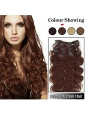 14'' Full Head Set Dark Brown Wavy 7Pcs Clip In Human Hair Extensions
