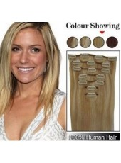 7Pcs From 16 Inches Straight Clip In Human Hair Full Head Set