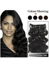 14'' Pure Black Brazilian Human Hair Wavy Clip In Full Head Set