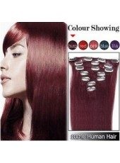 16'' Burgundy Straight 7Pcs Clip In Human Hair Extensions Full Head Set