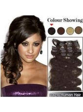 12'' Clip Dark Brown Wavy In Brazilian Human Hair Extensions