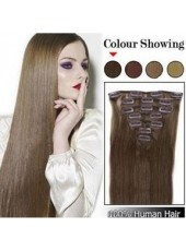 12'' Straight Human Hair 7Pcs Clip In Full Head Set