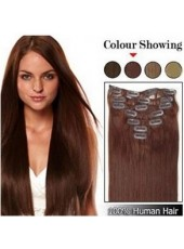 16'' Bright Brown Straight 7Pcs Clip In Indian Human Hair Extensions