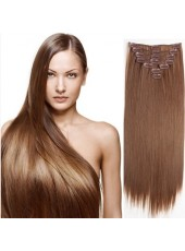 26'' Submissive Straight 7Pcs Clip In 100% Indian Human Hair Brown Extensions