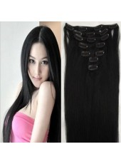 22'' Natural Black Straight 7Pcs Clip In Indian Remy Human Hair Extensions
