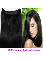16'' Natural Black Full Head Set 1Piece Clip In Human Hair Straight Extension