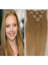 16'' Light Brown Silky Straight 7Pcs Clip In Human Hair Extensions Full Head Set