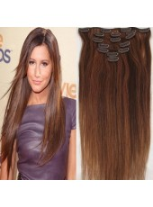 24'' High Quality Wavy Bouncy Human Hair 7Pcs Clip In Full Head Set