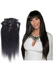 14'' Natural Black Submissive Straight 7Pcs Clip In Brazilian Human Hair Extensions