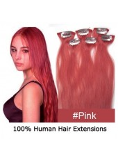 22'' Pink Human Hair Wavy Bouncy 6Pcs Clip In Full Head Set