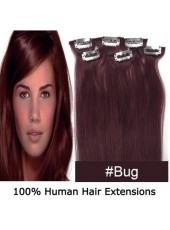 20'' Burgundy Human Hair Straight 6Pcs Clip In Full Head Set
