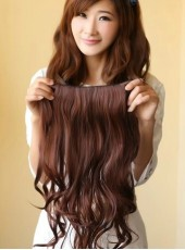 22'' 1Piece Bright Brown Wavy Synthetic Hair Clip In Full Head Set
