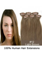 20'' Light Brown(#12) Straight Human Remy Hair 6Pcs In Full Head Set