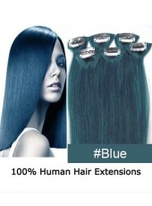20'' Blue Straight 6Pcs Clip Human Hair Extensions In Full Head Set