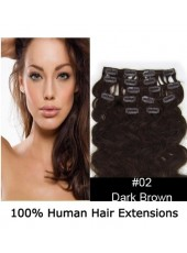 20'' Dark Brown(#2) Wavy 7Pcs Clip In Top Quality Human Hair Extensions