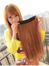24'' Brown Top Quality Heat Resistant Hair 1Piece Clip In Straight Extension