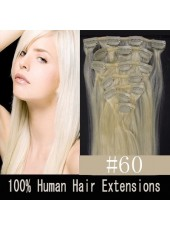 18'' White(#60) Straight 7Pcs Clip In Human Hair Extensions