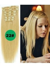 18'' Blonde(#22) Straight Human Hair 7Pcs Clip In Full Head Set