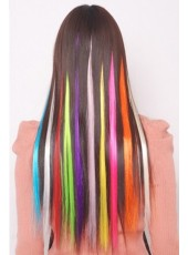 10Pieces Clip Colorful Silky Straight Synthetic Hair Extensions About 22 Inches