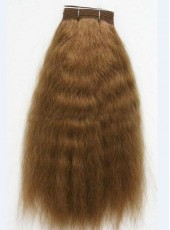 14'' Light Brown Silky Fluffy Wavy Bouncy 100% Indian Virgin Hair Weave