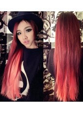 28'' Burgundy Silky Straight Heat Resistant Hair 1Piece Clip In Full Head Set
