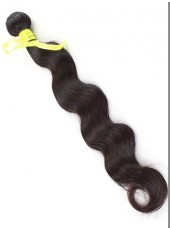 18'' Natural Black Wavy 1Piece Brazilian Human Hair Beautiful Silky Weave
