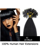 16'' Pure Black #1 100% Human Hair Nail Tip Extensions