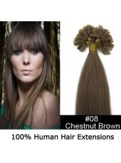 16'' Brown(#8) 100Stands Straight U Tip Human Remy Hair Extensions