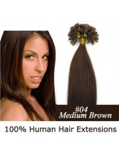 16'' U Tip Extensions Dark Brown(#4) Silky Straight Human Remy Hair