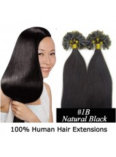 16'' Natural Black Top Quality Brazilian Human Hair Nail Tip Extensions