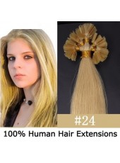 16'' Light Brown(#24) Elegant Straight Silky Indian Human Hair U Tip Extensions