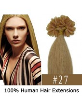 16'' U Tip Extensions Light Brown(#27) Silky Indian Human Hair
