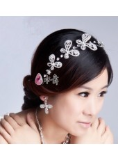 Top Quality Ancient Costume Hair Silver Rhinestones Butterfly Honorable Headdress Flower